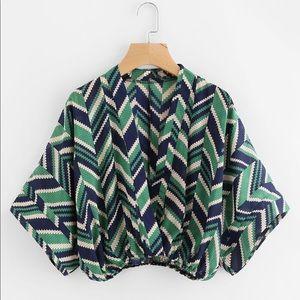 Chevron kimono sleeve blouse